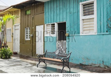 VERACRUZ, MEXICO- SEPTEMBER 27, 2017: Colorful houses at Barrio de la Huaca in Veracruz, Mexico. Famous neighborhood that was founded by african slaves about three centuries ago