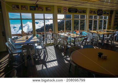 Laban Rata,Sabah,Borneo-March 12,2016:View of dining area in restaurant at Laban Rata resthouse on Mt.Kinabalu,Kinabalu National Park, Borneo, Sabah, Malaysia, Asia.