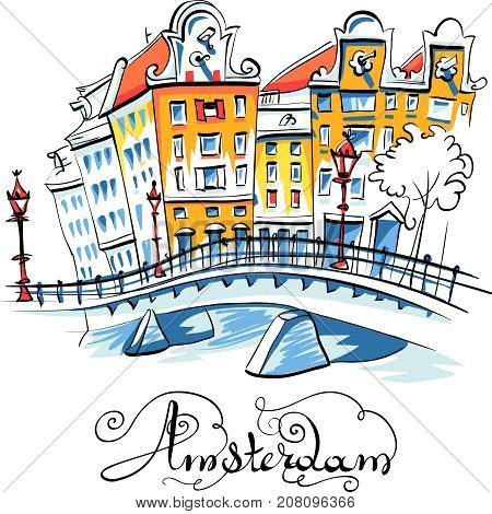 Color hand drawing, city view of Amsterdam typical houses, Holland, Netherlands.