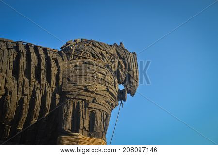 Wooden giant trojan horse in Cannakalle - Turkey this was used in brad pitt troya movie. Photo taken on: September, 2015