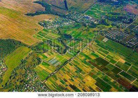 Farmland aerial view at fall