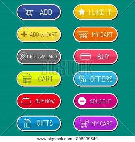 Colorful website online shop web buttons design vector illustration glossy graphic label internet confirm template banner. Rounded blank menu reflection business navigation download interface.