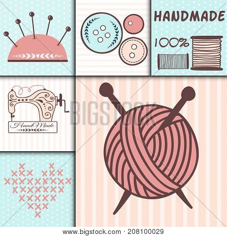Handmade needlework badges sewing fashion banners tailoring tailor handicraft elements vector illustration. Workshop emblem vintage hobby.