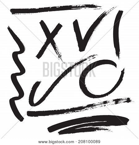 Vector hand drawn set of brush strokes and marks. Brushed check and cross marks, underlines, circle and wavy line.