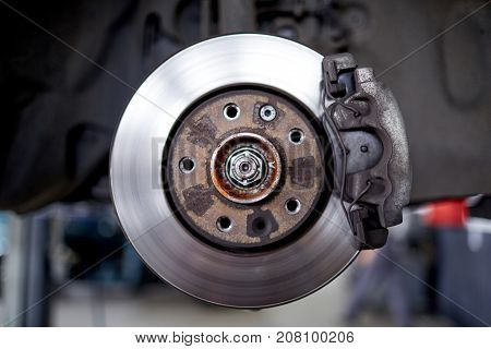 Disc brakes after surface adjustment on the car