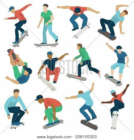 Young skateboarder active boys sport extreme active skateboarding jump tricks vector illustration. Freestyle boarding skate park and boys