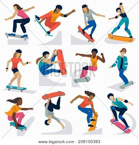 Young skateboarder active girls sport extreme active skateboarding jump tricks vector illustration. Freestyle boarding skate park and boys