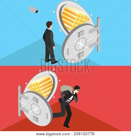 Thief Running Out Of A Bank Vaul. Isometric Flat 3D