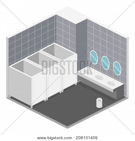 Isometric 3D Isolated Vector Cutaway Interior Of Public Toilet