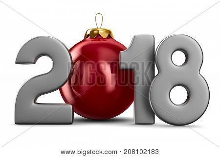 2018 new year. Isolated 3D illustration