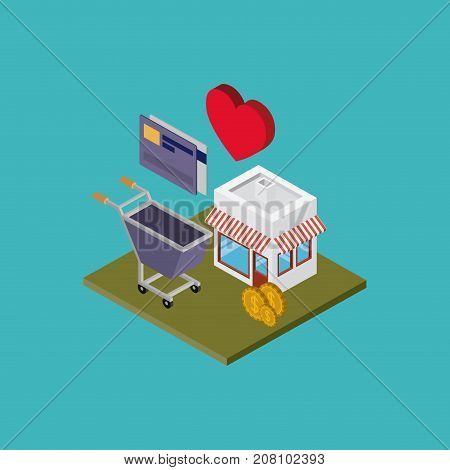 store with sunshade striped red and white and shopping cart credit card coins and heart over green floor colorful background vector illustration