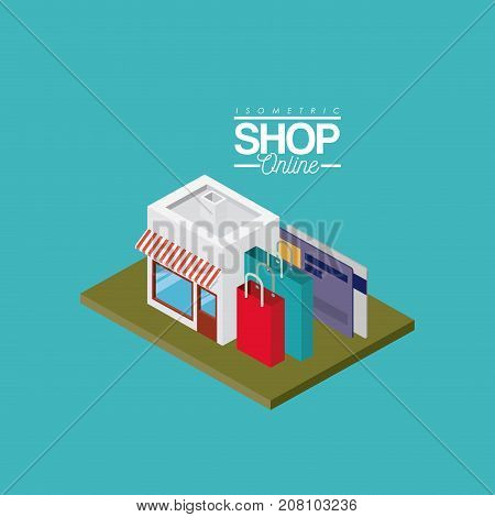 store with striped sunshade red and white with credit cards and shopping bags over green floor colorful poster isometric shop online vector illustration