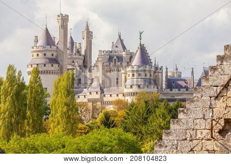 September 2012- In September a lot of tourist visit the Medieval Castel of Pierrefond in the north of Paris in France restored by Viollet-le-Duc to enjoy its architecture. View of the castle from the nearby forest