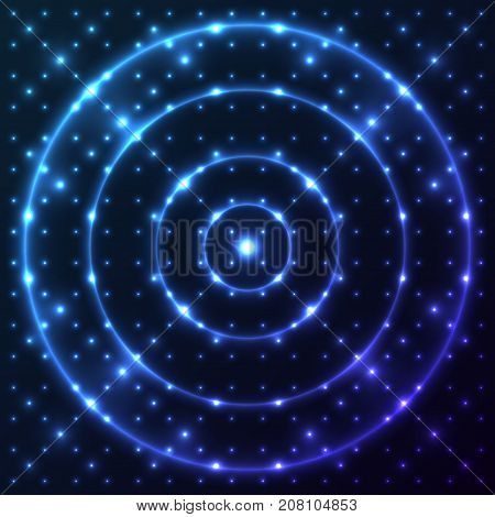 Bright shining and glaring abstract pattern with circles. Beautiful decorative rounds on dark cosmic background. Vector EPS10 file.
