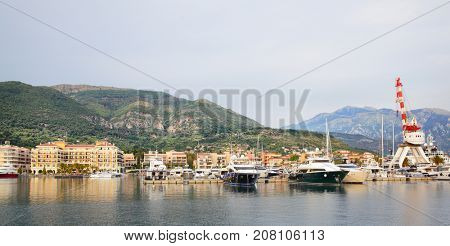Panoramic view of port of Tivat, Montenegro