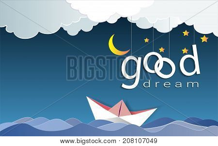 Good dream text design under the moon light and stars, Goodnight and sweet dream origami mobile concept, Vector illustration Paper art style.