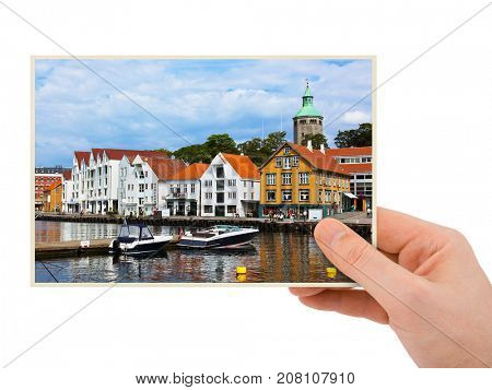 Norway travel photography in hand (my photo) - Stavanger isolated on white background