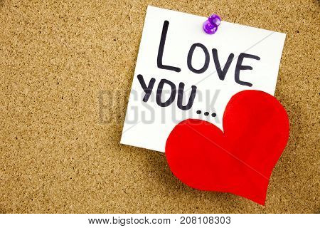 A Yellow Sticky Note Writing, Caption, Inscription Phrase Love You ... In Black Ext On A White Stick