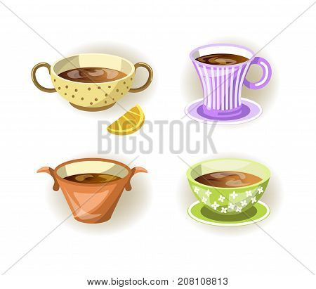 Tea cup, coffee mug and soup bowl plate of different shape for drink or food with ornament for cafe or cafeteria. Food glassware or ceramic porcelain utensils handles type. Vector flat icons set