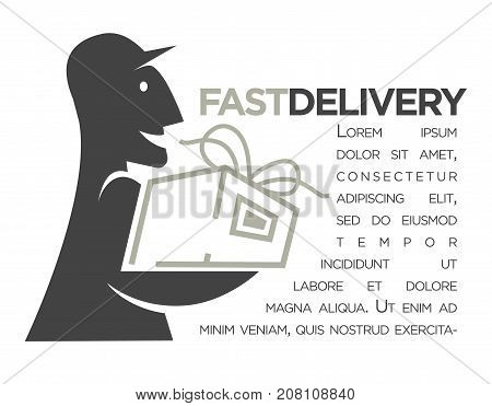 Delivery logo template for post mail, food or online shop express service. Vector isolated icon of delivery man silhouette with gift box parcel
