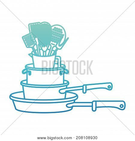 stewpan stack and kitchen utensils degraded blue color contour vector illustration