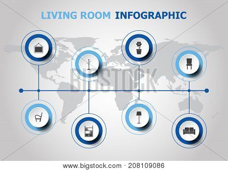 Infographic design with living room icons, stock vector