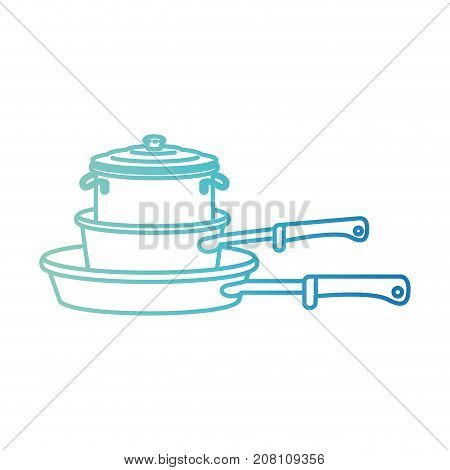 stewpan and cooking pot stack degraded blue color contour vector illustration