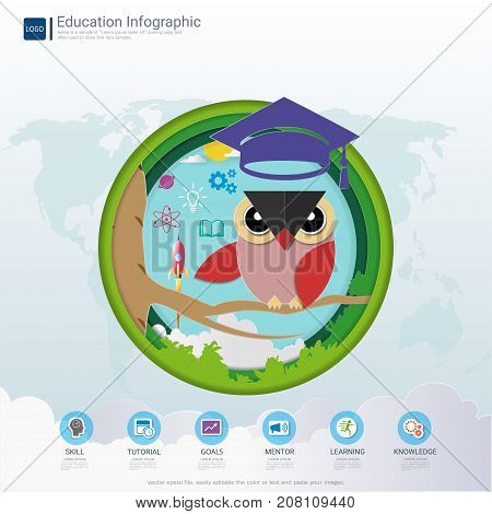 Education infographic and learning concept, Owl teacher with graduation cap, Space rocket launch and knowledge icons, Symbol of wisdom and educational success, Vector illustration.