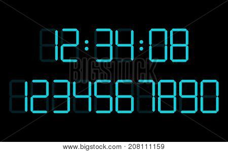 digital numbers  set  vector clock font neon alamr
