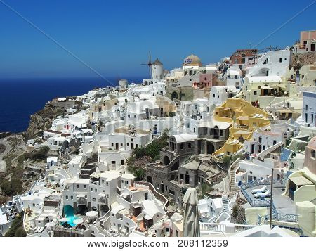 Traditional White Washed Santorini Greece