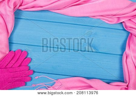 Frame Of Womanly Gloves And Shawl On Boards, Clothing For Autumn Or Winter, Copy Space For Text