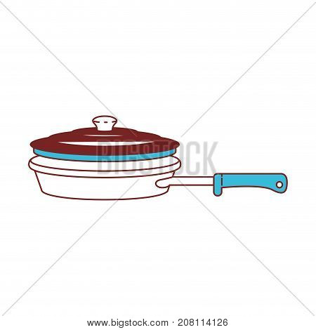 stewpan with handle and lid color sections silhouette vector illustration