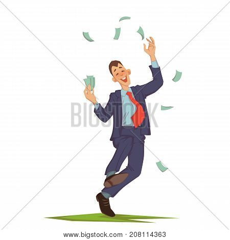 Vector illustration of happy careless businessman walking and throwing up cash.