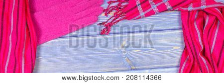 Frame Of Gloves And Shawl For Woman On Old Boards, Clothing For Autumn Or Winter, Copy Space For Tex