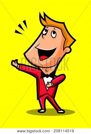 Cute gentleman male singing classical music, yellow background