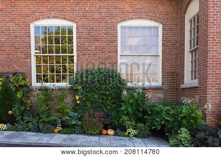A fall themed garden in front of a brick building with shiny multi-paned windows in the background.