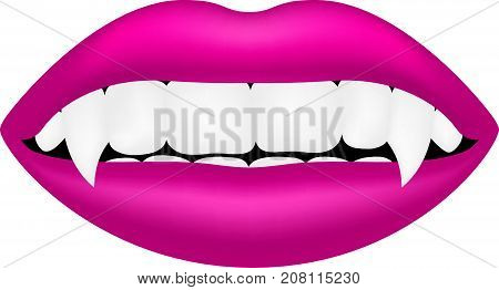 Vampire mouth in pink design on white background