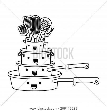stewpan stack and kitchen utensils monochrome kawaii silhouette vector illustration