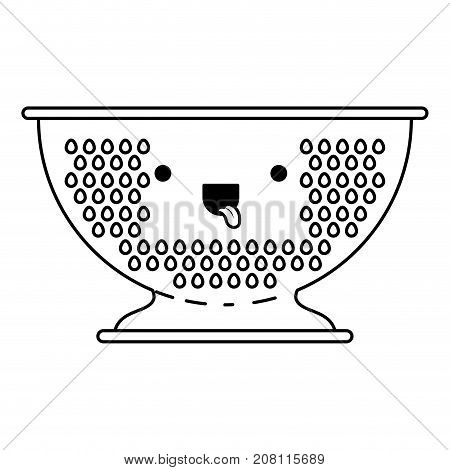 kitchen drainer monochrome kawaii silhouette vector illustration