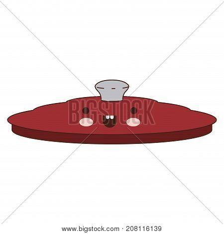 pan lid colorful kawaii silhouette vector illustration