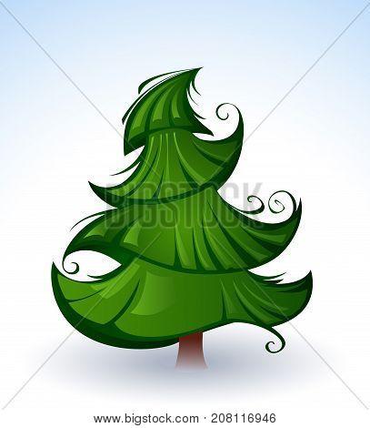 Artistic green Christmas tree on a background of snow and blue sky painted in the author's style. Author's style. Green Christmas tree.