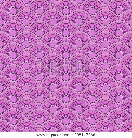 Traditional Japanese seamless pattern. Pink colored fish squama. Mermaid scales. Stock vector