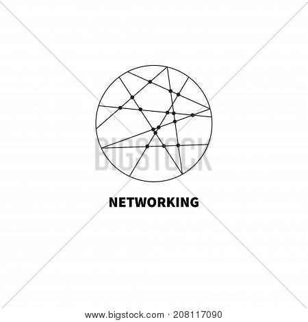 Circle with wires. Round logo networking. Social network icon. Friendships. - stock vector