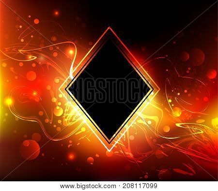 Black rhombus banner on a fiery red background with bright sparks. Fiery background.