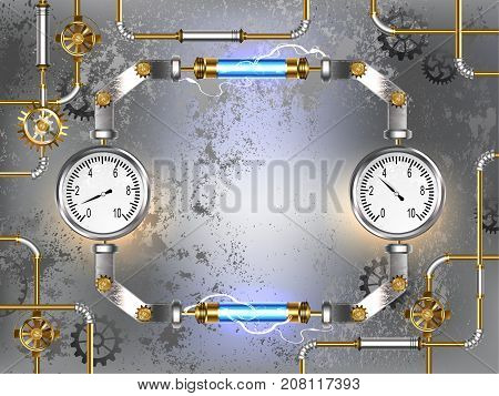 Gray concrete industrial background with two manometers and blue LEDs. Design with gears. Steampunk style. Industrial design.