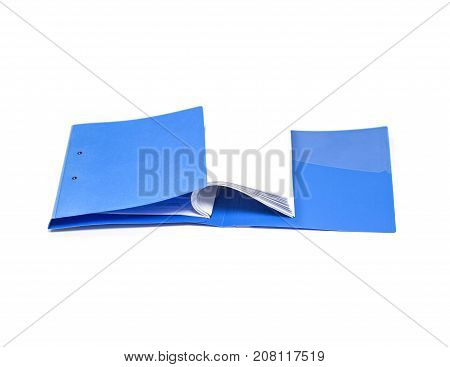 file folder and Stack of business report paper file with white background. isolated - copy space