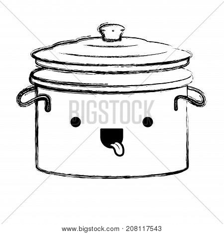 cooking pot with lid monochrome blurred kawaii silhouette vector illustration