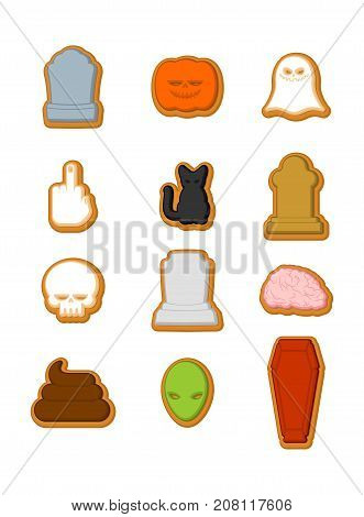 Halloween Cookies Set. Cookie For Terrible Holiday. Ghost And Pumpkin. Black Cat And Skull. Tombston