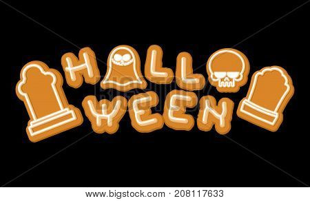 Halloween Cookie Lettering Symbol. Typography Of Cookies Letters. Vector Illustration