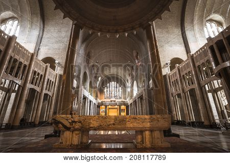 BRUSSELS BELGIUM - JUNE 19 2016: Wide picture of the interior of the Basilica of the Sacred Heart in Koekelberg. Brussels Belgium.